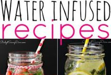 Infused Water Recipes / Drinking water is one of the best things you can do for your body. It helps regulate body temperature, protect vital organs and improve the way you look. But sipping on the same old thing all the time can get boring. If you're looking for a more flavorful way to get your H2O, try infused water! Loaded with fruits, veggies and herbs, infusing water will help you stay hydrated while relieving some of your biggest health complaints.  Save money, make beautiful flavorful creations, and be healthy!