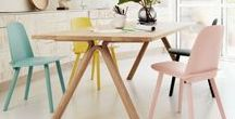 Pastel color / Interiors and furniture with pastel colors