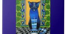 He is Back - Blue Cat Art / He is Back - Blue Cat Art by Dora Hathazi Mendes.