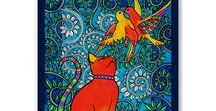 Love is in the Air / Love is in the Air cat painting by Dora Hathazi Mendes, Cats of Karavella Collection
