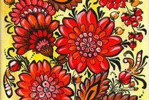 Folk Art / #folk #art #paintings #flowers #vintage #oldfashioned #country #naive #artwork #home #berries #colorful #pattern