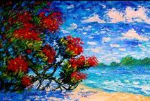 Artist Ekaterina Chernova / Bright colors, colorful art, large oil painting, modern art, contemporary art,  wall decor, wall art, impressionist, landscape, floral, abstract, beach art, city paintings.