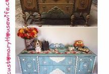 Distressed Furniture - Antique Furniture - Teal and White Distressed Farmhouse Furniture / Distressed Antique Furniture (diy). Antique Table, Chairs, Buffet/Dresser, and China Cabinet, all DIY. Distressed Wood Furniture. China Cabinet with a Chicken Wire Door.  Recycled family furniture.