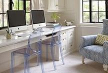 Dream Office / I'm designing my first office! I want it to look chic, unique, & beautiful. Going for white furniture with a few accent colors of blush pink and grey or gold tones.