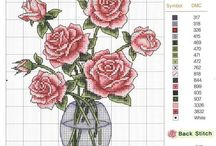 cicek desen/flower patterns for cross stitch / kanaviçe çiçek şemaları/cross stitch flower patterns