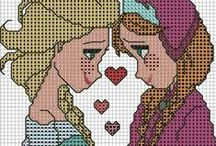 frozen / frozen ile ilgili kanaviçe desenleri/cross stitch patterns about frozen movie