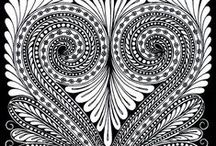 Coloring for Adults ~ Patterns / Paisleys, flowers, mandalas, hearts and abstract patterns