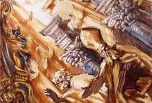 Figures sacrées / Tableaux d'intérieurs d'églises, compositions  dont les protagonistes sont des statues ou des fresques