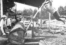 Sash Sawmills - historic images / Images of sash-type sawmills from paintings, drawings and photos and early publications.  Learn more at ledyardsawmill.org