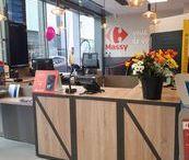 Réalisation - Agencement espace réception / Agencement magasin accueil et réception / comptoir accueil / bois