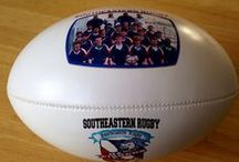 Rugby Balls / Personalized rugby balls done by Get on the Ball Photos are awesome because they allow printing on 3 sides!