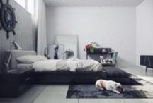 Dreamy bedrooms in grey and white / Inspiration and ideas for your bedroom with cold colour palette