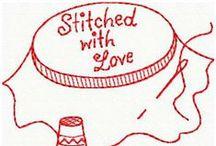 Redwork costura -  Sewing