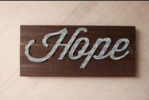 Cursive words on wood (made from refurbished barn tin)