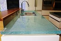 Unique Glass Kitchen Counter and Island tops / Glass countertops with Thick Glass by ThinkGlass. Beautiful glass countertops with 1.5 in thick surface. Translucent and durable.