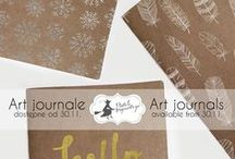 Art journals / Great journals / notebooks with white, gold and silver print. Kraft pages inside!