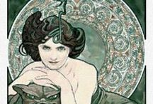 Alphonse Mucha Cross Stitch / Scarlet Quince counted cross stitch patterns based on the art of Alphonse Mucha.
