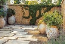 STYLE: Mediterranean gardens / Add a touch of south Europe to your garden with patterned paving , colour and an abundance of pots. Water features are a great addition to Mediterranean gardens to tie in all  the various elements.
