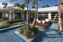 STYLE: Tropical/ Resort Style Garden / Tropical gardens are lush in vegetation and a great space for tranquillity and relaxation. The colour palette for tropical style gardens are focused around earthy tones (green, white, brown) and adding a water feature further enhances the exotic vibe.