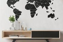 GRAFIKI ŚCIENNE - dekoracja / Przyklejane na ścianę grafiki w czarnym matowym kolorze.