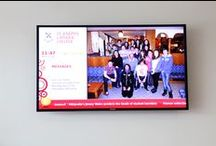 St Joseph's School, Swindon / The College wanted to invest in digital signage to show regular information and events for students and parents. It also wanted it to reinforce the branding of the college. The ONELAN solution was selected as the most competitive and comprehensive for the school's requirements. The College has a video wall of four LED screens which runs at 1080p to provide a lovely sharp image.