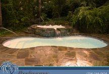 Traditional Fiberglass Pools / Poolscapes of Charlotte builds beautiful traditional fiberglass swimming pools.