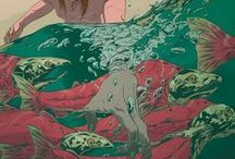 ♥ Pisces Too / Ichtyes: Greek. 'The Poet'. Sea green + mauve. Imaginative. Sensitive. Compassionate. Selfless. Unworldly. Intuitive. Romantic places, Sunsets over sea. Waterfalls. Drift in time. Uninterrupted personal privacy. Flower: Heliotrope, Carnation, Opium poppy, Violet. Aquamarine. Monday. Shy. Romantic. Malleable. Opposite Virgo. >>> Escapist. Idealistic. Secretive. Vague. Weak-willed. Easily led. Dislikes: Noisy crowded places, Dirty, ugly, garish objects, wrong people.