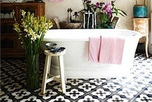 Bathroom floor design ideas / A floor's not just for walking on... it's for standing back and admiring, too. So if you've got bathroom basics on your mind, start your underfoot thought processes here