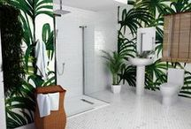 Jungle paradise bathrooms / This theme presents a fresh and crisp take on the very on trend Jungle look. The Bathroom can be the most obvious place in the home to capture this theme at its very best, a large walk in shower enclosure with a rain fall ceiling mounted shower head finishes off the feel perfectly, making you feel as if you are really are in the waterfalls of your jungle paradise!