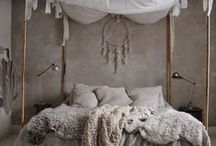 PILLOW TALK / bedroom decor inspiration - ideas for small space - designing and decorating styles that appeal to minimalism and boho looks - techniques on utilising storage and arranging furniture
