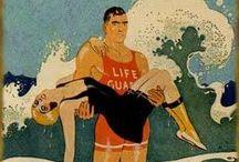 Vintage lifeguard posters