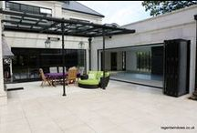Walton-on-Thames 2014 / Lantern roof and Bi-Folding doors in a swimming pool in Surrey. This is powder-coated aluminium; RAL 9005 (Graphite Black).