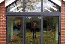 Churchdown 2015 / Bi-folding door windows and sliding door in anthracite textured grey , flat roof light in black