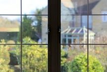 Stow on the Wold 2015 / Aluminium sliding door and french casement windows in black textured finish and black square lead
