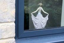 Greet 2015 / Dark grey textured aluminium windows in to stone surrounds and mullions