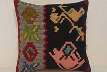 Floral Pillows / Decorative Throw Pillow Kilim Pillow Cover 40x40 Organic Woolen Cozy Cushion 16x16 Natural tone Kilim Pillow Cover Boho Vintage Home Decor