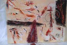 Au bal des rouges ***** / Abstrait contemporain ,,,de beaux rouges qui dansent sur un fond péche entre du noir et d'argent !!!