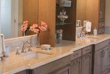 Custom Master Bath in Milton, GA / Custom Master Bath with a stone shower and beautiful cabinetry.