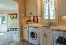 Lakehouse Retreat Laundry Room in Lake Oconee, GA / Lakeside laundry room with plenty of storage
