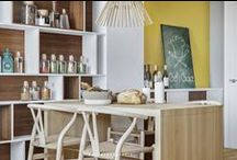 kitchen / kitchen, wood, scandinavian style, foscarini, rendering, visualization