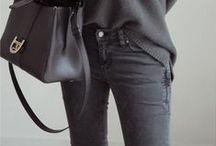 Style / All season fashion. Retro minimal, monochrome, winter colour theory