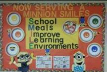 School BULLETIN BOARDS That Rock / School nutrition professionals make creative and educational bulletin boards for their dining rooms and kitchen areas