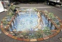 Sidewalk art / Chalk drawings in the street create perspective