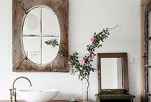 Bathroom + Powder Room Design Inspo / Funny thing - we do actually spend a lot of time in the bathroom! It's were we get clean, take care of our daily hygiene, self-care rituals, and pamper ourselves so naturally it should be a beautiful place of refuge and relaxation. Good bathroom design means functional beauty. These pics are inspiration for bathroom tiles, bath fixtures, bathroom storage, bathroom styling, fixtures, finishes, floors, bathtubs, powder room sinks, tub caddies, just loads, and loads of bathroom design ideas!!