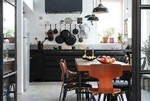 Kitchen Design Ideas / Fabulous kitchen design ideas, lots of black, metalics, rustic wood, metro tiles, marble, Mid Century influences & interesting accessories