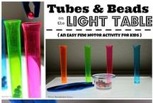 Light Table Activities for Kids / Light table, Light box, Nautral Light, & Black Light play activities for infants to preschoolers