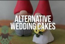 Alternative Wedding Cakes / Unusual wedding cakes such as tree bark, chalkboard, gothic and naked cakes.