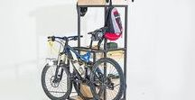Mountain biker furniture - Alfred by Disegno 47 / Quite ofthen you need other wheels to keep yours Hang your bike on multiuse hooks. Orizontal or Vertical. Store pomps, backpacks and tools. Specific space for spare wheels. Use your imagination, come on . . .