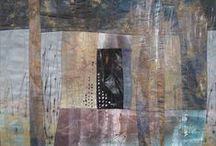 fabric, craftwork, tea bag art, stitching