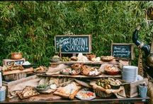 Beautiful Food Stations / Lots of ideas for food and drink stations. Perfect for a marquee wedding.